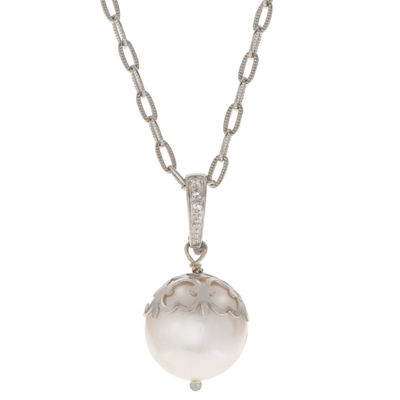 Womens White Cultured Freshwater Pearls Sterling Silver Round Pendant Necklace