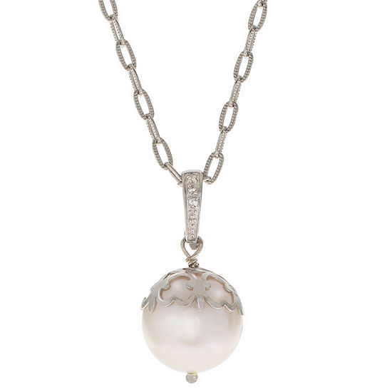Womens White Cultured Freshwater Pearl Sterling Silver Round Pendant Necklace