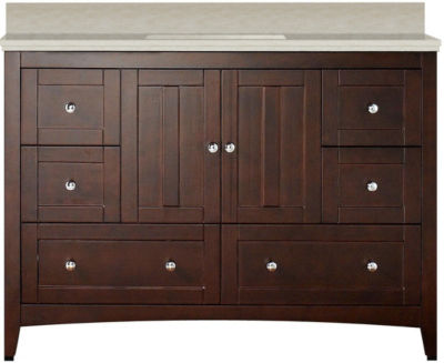 47.6-in. W Floor Mount Walnut Vanity Set For 1 Hole Drilling Beige Top Biscuit UM Sink