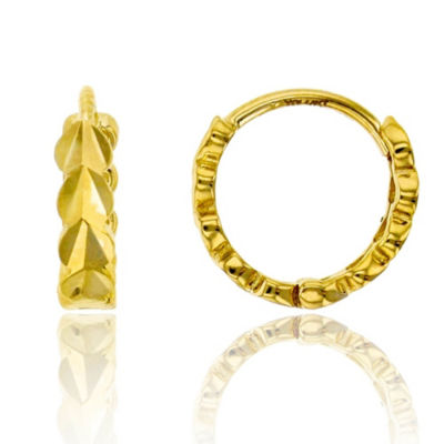 14K Gold 10mm Heart Hoop Earrings