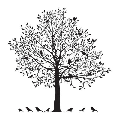 New View New View Tree With Birds Decal Wall Decal