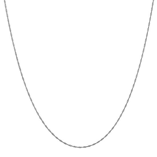 "14K White Gold 14-30"" Solid Singapore Chain Necklace"