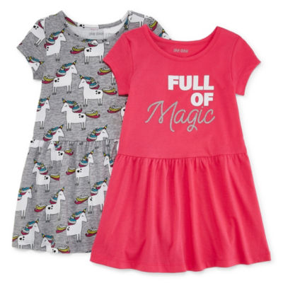 Okie Dokie Short Sleeve Swing Dresses-Toddler Girls
