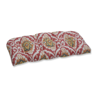 Pillow Perfect Ubud Coral Wicker Patio Loveseat Cushion