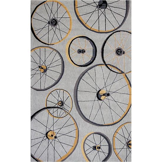 Kas Wheels Hooked Rectangular Indoor Rugs