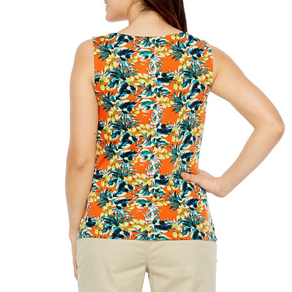 Chelsea Rose Sleeveless Cowl Neck Floral Blouse