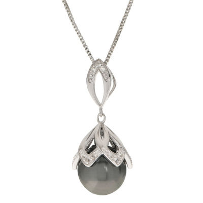 Womens Gray Cultured Tahitian Pearls Sterling Silver Round Pendant Necklace