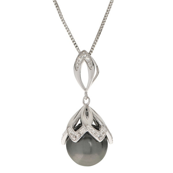 Womens gray pearl sterling silver pendant necklace jcpenney womens gray pearl sterling silver pendant necklace mozeypictures Choice Image