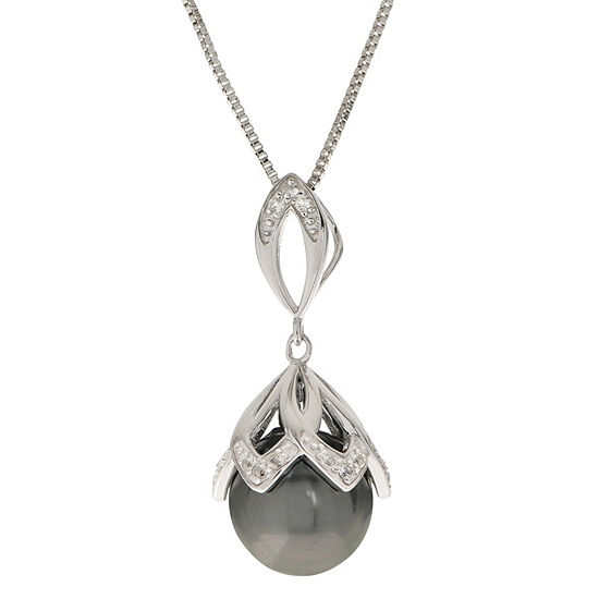 Womens Gray Cultured Tahitian Pearl Sterling Silver Round Pendant Necklace