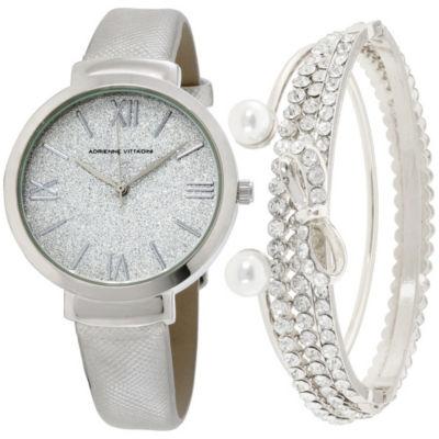 Adrienne Vittadini   Womens Silver Tone Bracelet Watch-Adst2630s679-004