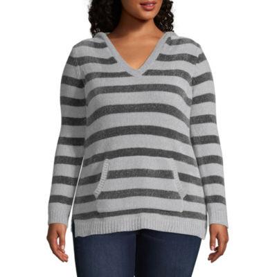 Derek Heart Long Sleeve V Neck Stripe Pullover Sweater - Juniors Plus