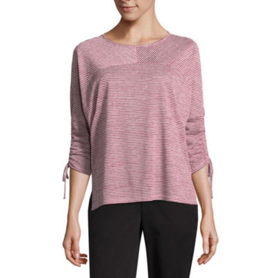 by&by Womens Round Neck 3/4 Sleeve Knit Blouse-Juniors
