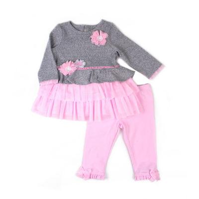 Nanette Baby 2pc Grey Pink Legging Set - Girls