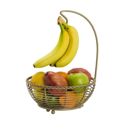 Gourmet Basics by Mikasa Mksa Gb Rope Frt Bskt Ban Hng Gold Os Ht Over Cabinet Storage