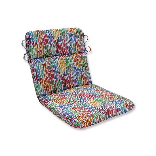 Pillow Perfect Make It Rain Zinnia Rounded Corners Patio Chair Cushion