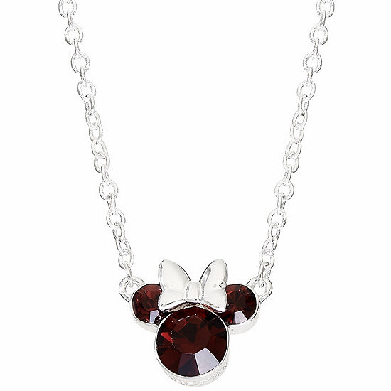Disney Collection Red Crystal 16 Inch Cable Minnie Mouse Pendant Necklace
