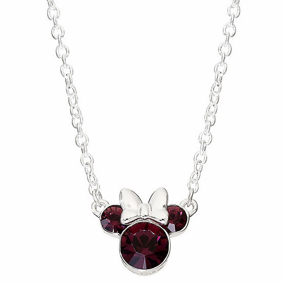 Disney Collection Purple Crystal 16 Inch Cable Minnie Mouse Pendant Necklace
