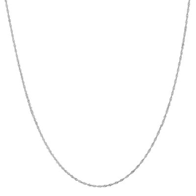 14K White Gold Solid Singapore 14 Inch Chain Necklace