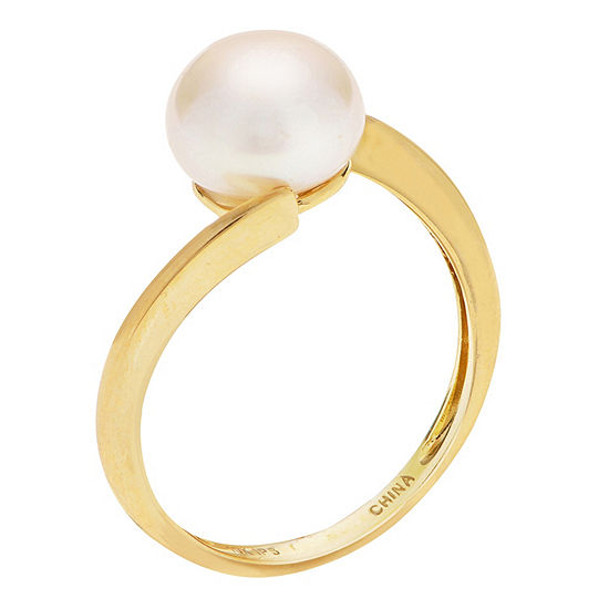 Womens 8.5MM White Cultured Freshwater Pearl 10K Gold Delicate Cocktail Ring