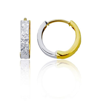14K Two Tone Gold 12.9mm Hoop Earrings