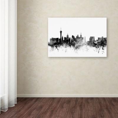 Trademark Fine Art Michael Tompsett Las Vegas Nevada Skyline B&W Giclee Canvas Art