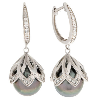 Gray Cultured Tahitian Pearl Sterling Silver Round Drop Earrings