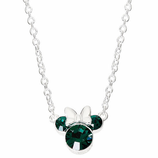 Disney Green Crystal 16 Inch Cable Minnie Mouse Pendant Necklace