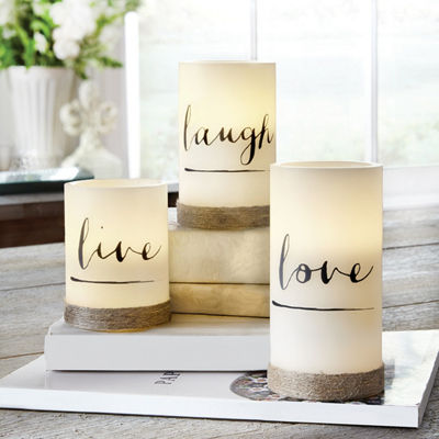 Live Laugh Love 3pc Flameless Candle With Rope Flameless Candle