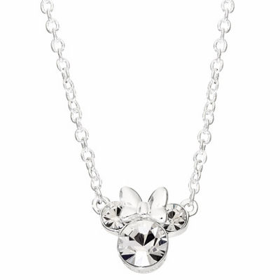 Disney Girls Clear Crystal Silver Over Brass Pendant Necklace