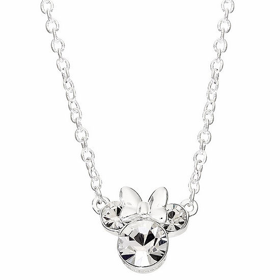 Disney Girls Crystal Minnie Mouse Pendant Necklace