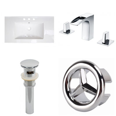 32-in. W 3H8-in. Ceramic Top Set In White Color -CUPC Faucet Incl.  - Overflow Drain Incl.