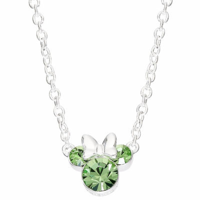 Disney Girls Green Crystal Brass Minnie Mouse Pendant Necklace