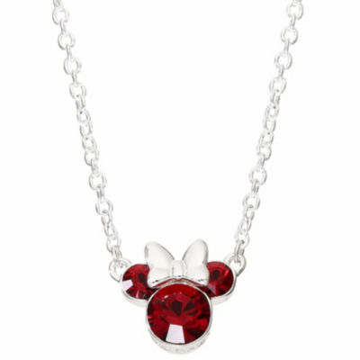 Disney Girls Red Crystal Minnie Mouse Pendant Necklace