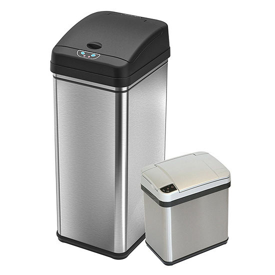 iTouchless Deodorizer Sensor Touchless Stainless Steel Trash Cans (Set of 2), 13 Gallon Kitchen and 2.5 Gallon Bathroom