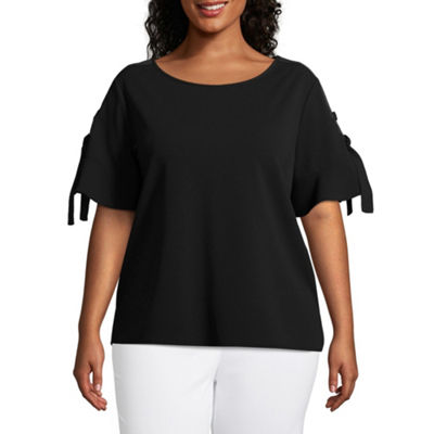 Worthington Short Tie Sleeve Blouse – Plus
