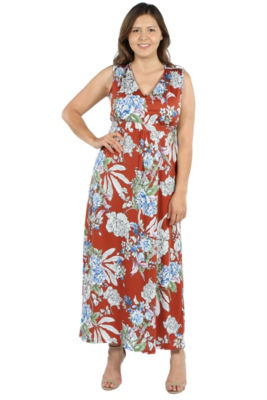 24Seven Comfort Apparel Tria Sleeveless Red Floral Maxi Dress - Plus