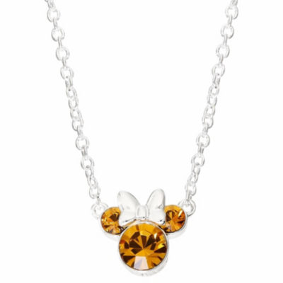 Disney Girls Orange Crystal Silver Over Brass Pendant Necklace