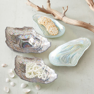 Two's Company Sea Glass Set Of 4 Lustrous Shell Plates