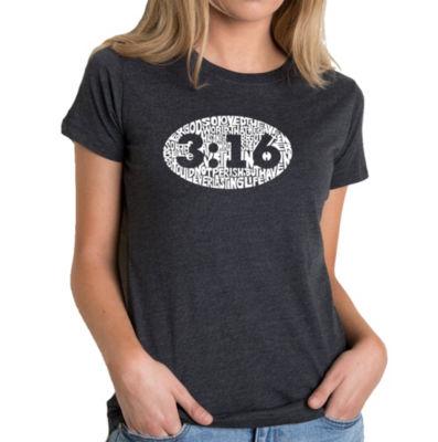 Los Angeles Pop Art Women's Premium Blend Word ArtT-shirt - John 3:16