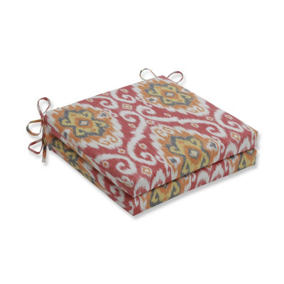 Pillow Perfect Set of 2 Ubud Coral Oversized Squared Corners Patio Seat Cushion