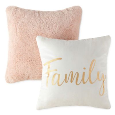 JCPenney Home 2 Pack Family and Blush Rabbit Throw Pillows