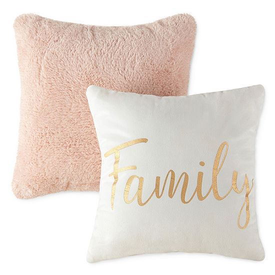 JCPenney Home 2 Pack Family and Cozy Blush Throw Pillows