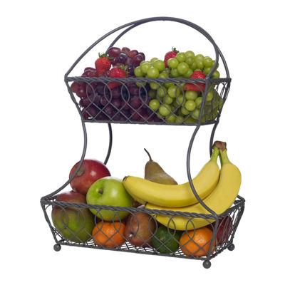 Gourmet Basics by Mikasa Mksa Gb 2 Tier Fb Bskt Loop Lat Gry Os Over Cabinet Storage