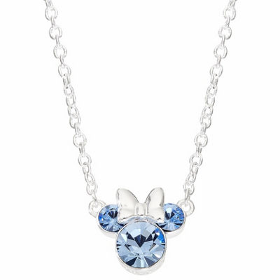 Disney Girls Blue Crystal Silver Over Brass Pendant Necklace