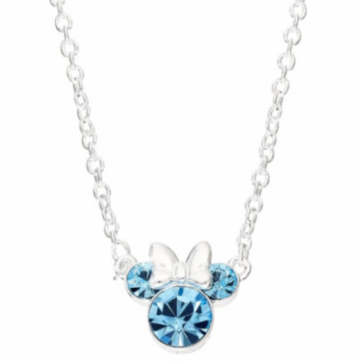 Disney Girls Lab Created Blue Crystal Brass Mickey and Friends Pendant Necklace