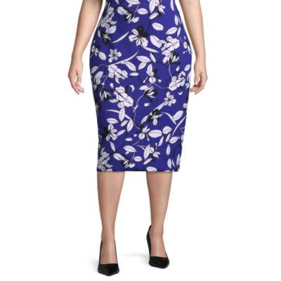 Worthington Womens High Waisted Pencil Skirt-Plus