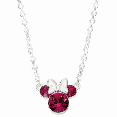 Disney Girls Pink Crystal Brass Minnie Mouse Pendant Necklace