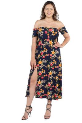 24Seven Comfort Apparel Eleanor Black Floral Side Slit Dress - Plus