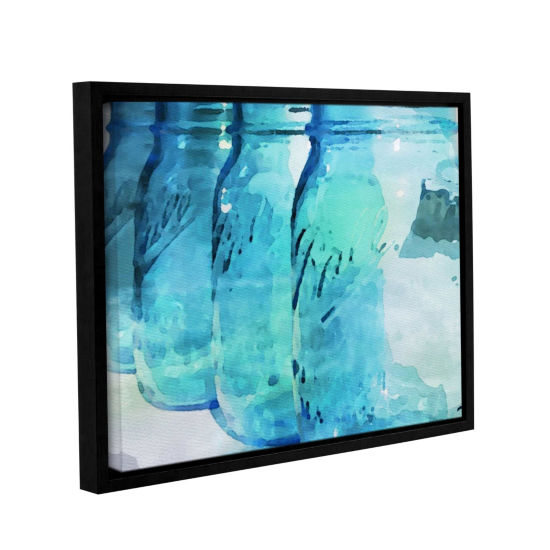 Brushstone Ball Blue Floater-Framed Gallery Wrapped Canvas