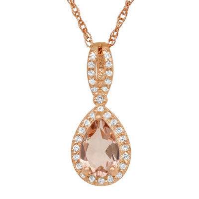 Womens Pink Morganite 10K Rose Gold Over Silver Pendant Necklace